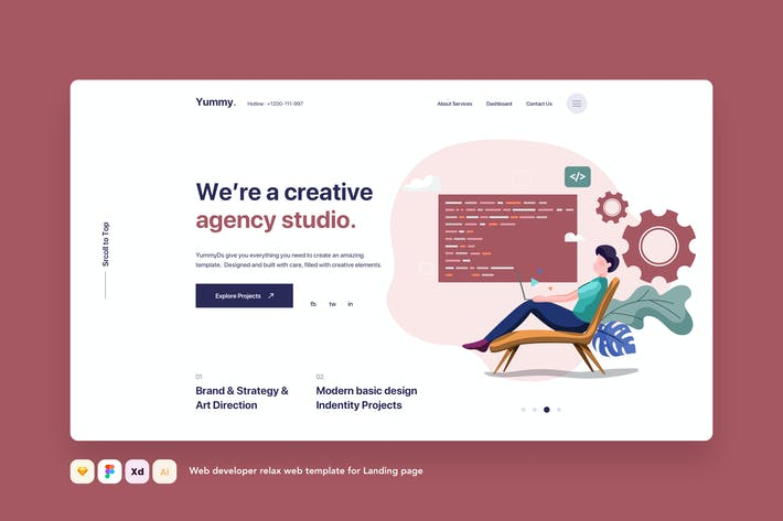 Thumbnail for Web developer relax web template for Landing page