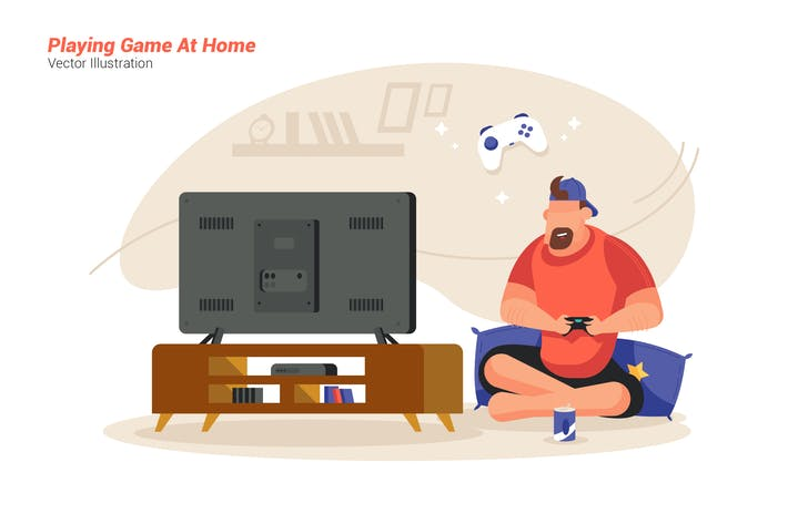 Thumbnail for Game At Home - Vector Illustration