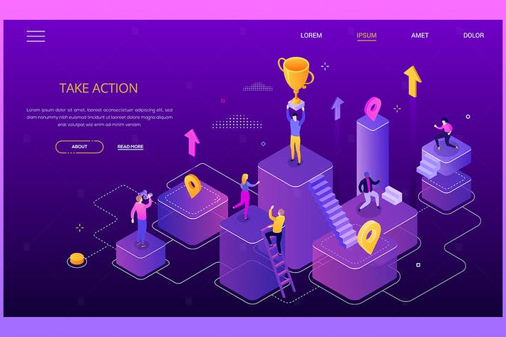 Thumbnail for Take action, get your goals - isometric banner