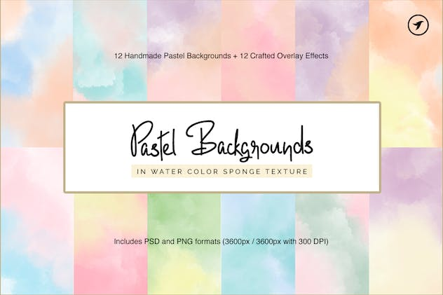 12 Handmade Water Color Pastel Backgrounds