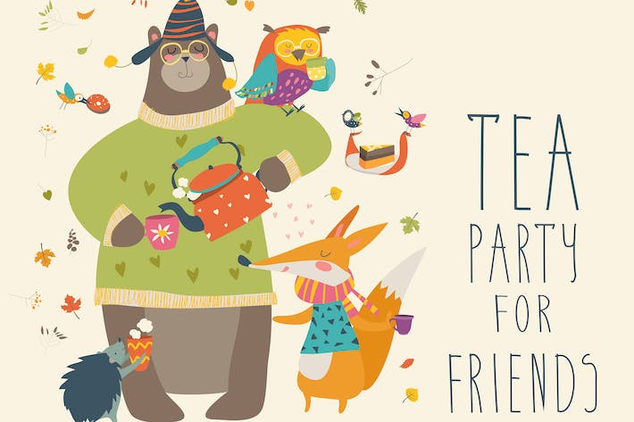 Thumbnail for Tea party with cute animals. Vector illustration