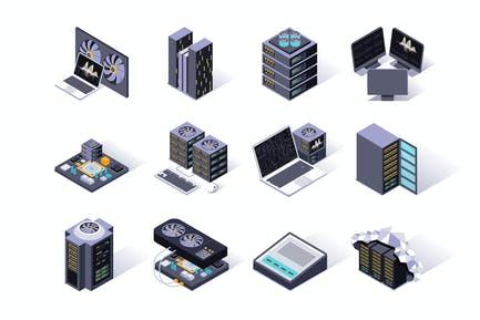Data Center Isometric Icons Set
