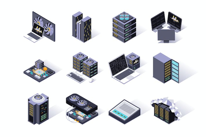 Data Center Isometric Icons Set