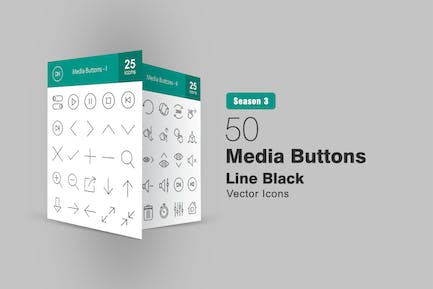 50 Media Buttons Line Icons