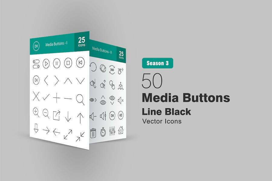 50 Medientasten Liniensymbole