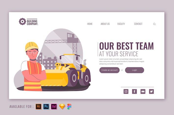 Thumbnail for Construction Team - Flat Outline Web Illustration
