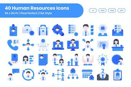 40 Human Resources Icons Set - Flat