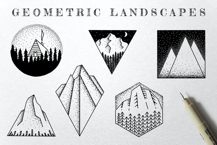 Cover Image For Geometric Landscape Illustrations