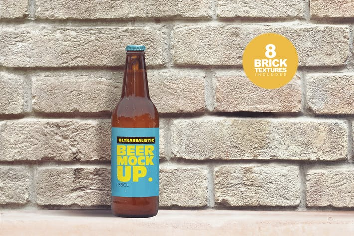 Brick Backgrounds 50cl Beer Bottle Mockup