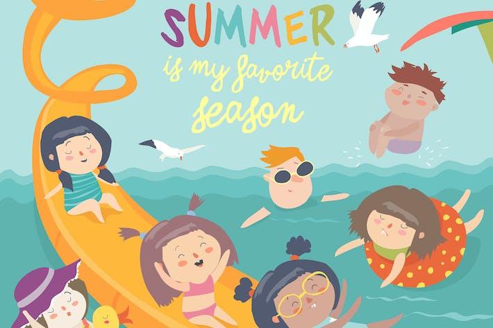 Thumbnail for Вектор дизайн детей, играющих в аквапарк