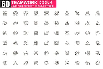 Teamwork Thin Line Icons Pack