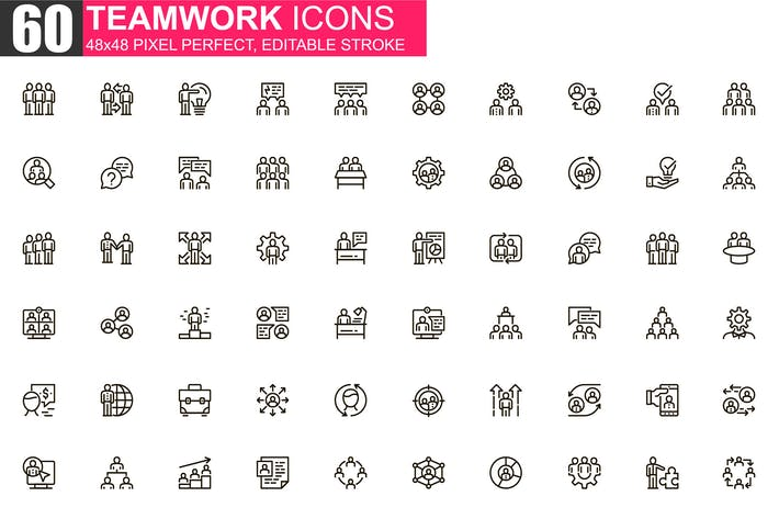 Thumbnail for Teamwork Thin Line Icons Pack