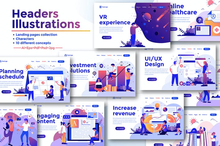 Thumbnail for Landing page templates kit