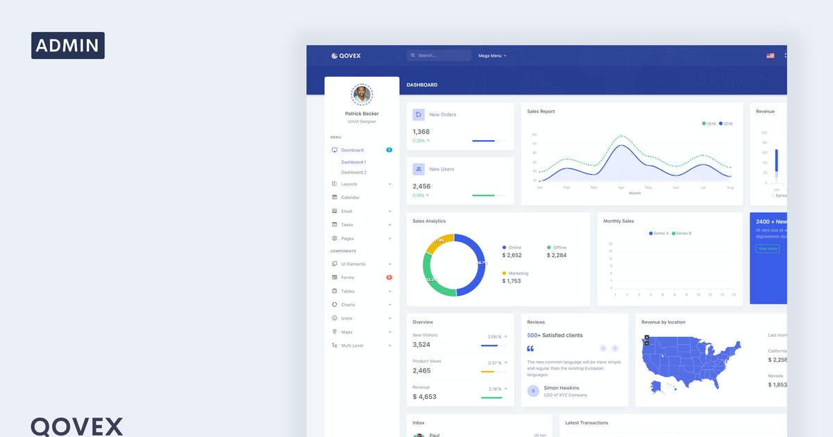 Download Qovex - Admin & Dashboard Template by Themesbrand