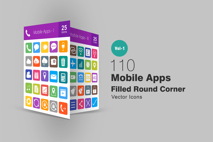 Thumbnail for 110 Mobile Apps Filled Round Corner Icons