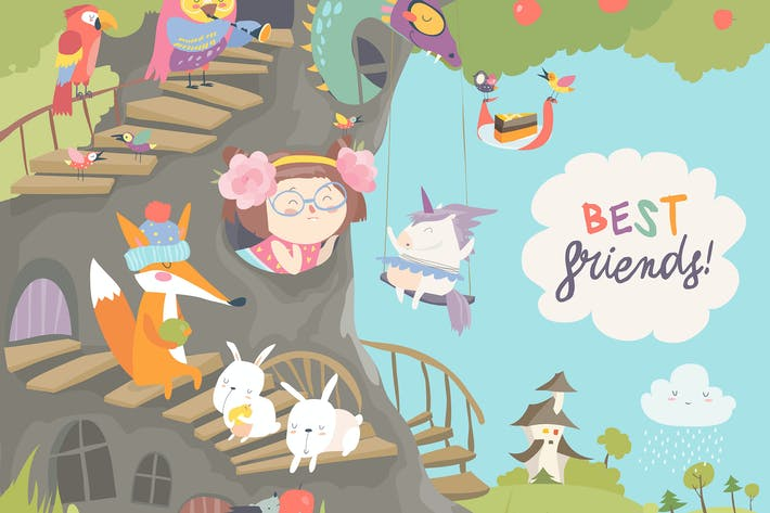 Thumbnail for Cute treehouse with little girl and animals.