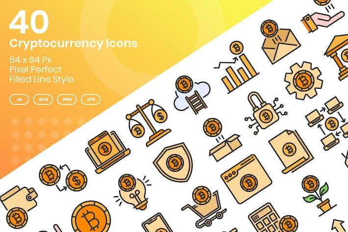 Thumbnail for 40 Kryptowährungs-Icons Set - gefüllte Linie