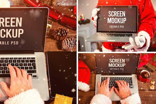 Santa Claus Laptop Mockup Set