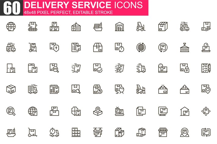 Thumbnail for Delivery Service Thin Line Icons Pack