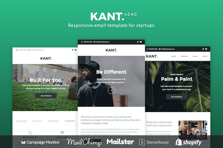 Thumbnail for Kant - Responsive Email for Startups 50+ Sections