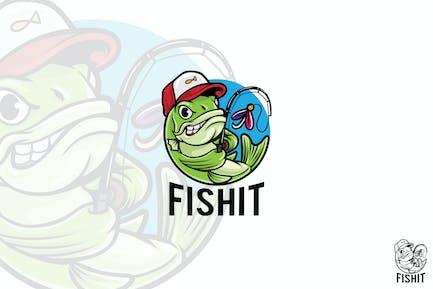 Fisch Fischen Logo Maskottchen