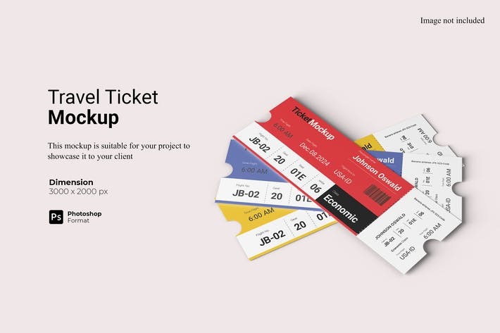 Realistic View Travel Ticket Mockup