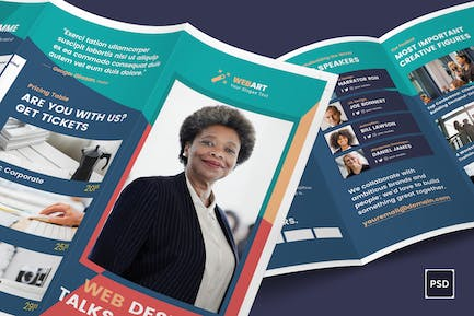 Conference Trifold Brochure PSD Template