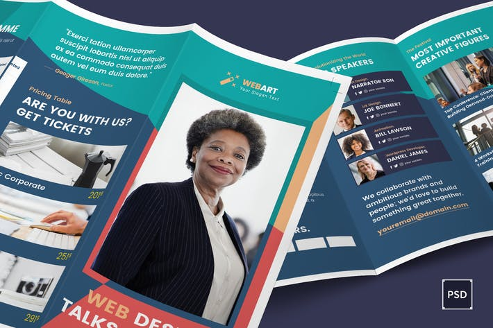 Thumbnail for Conference Trifold Brochure PSD Template