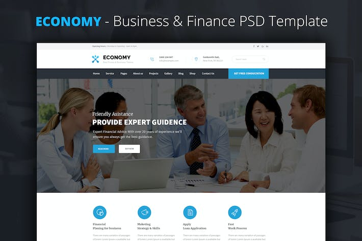Thumbnail for Economy - Finance & Business PSD Template