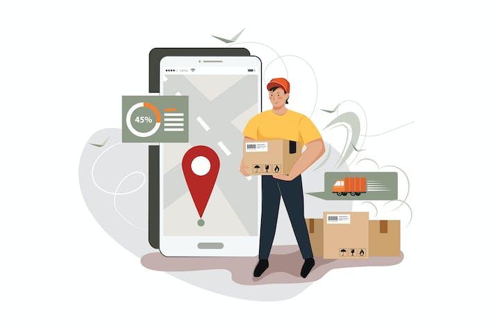Ein Mann Lieferboxen mit Smartphone zeigen