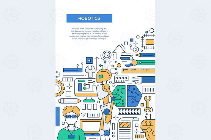 Thumbnail for Robotics - line design brochure poster template A4