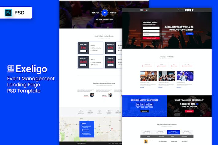 Thumbnail for Event Management - Landing Page PSD Template