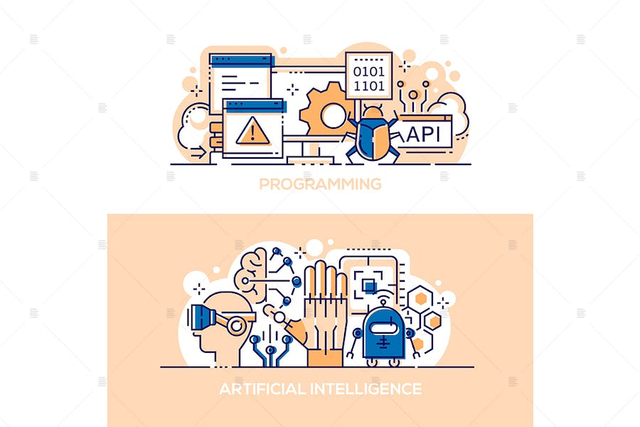 Programming and artificial intelligence banners