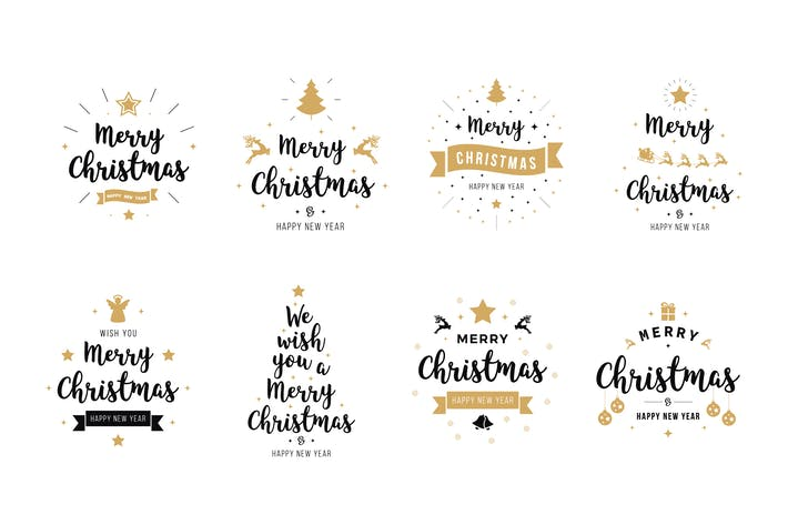 Thumbnail for Merry Christmas greeting emblems vector set. Vol.1