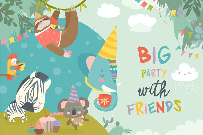 Thumbnail for Vector birthday background with happy animals