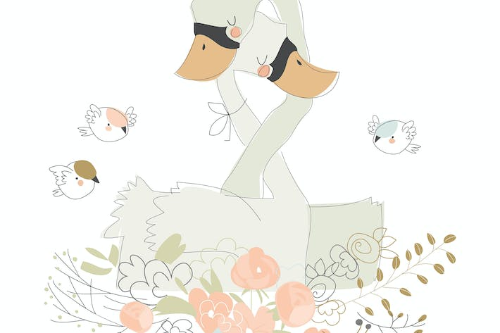 Thumbnail for Cute cartoon couple of swans hugging on flowers.