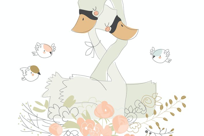 Cute cartoon couple of swans hugging on flowers.
