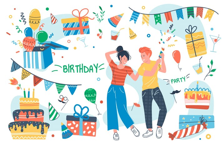 Birthday Party Concept Isolated Elements Set