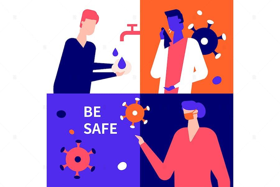 Be safe concept - flat design style illustration