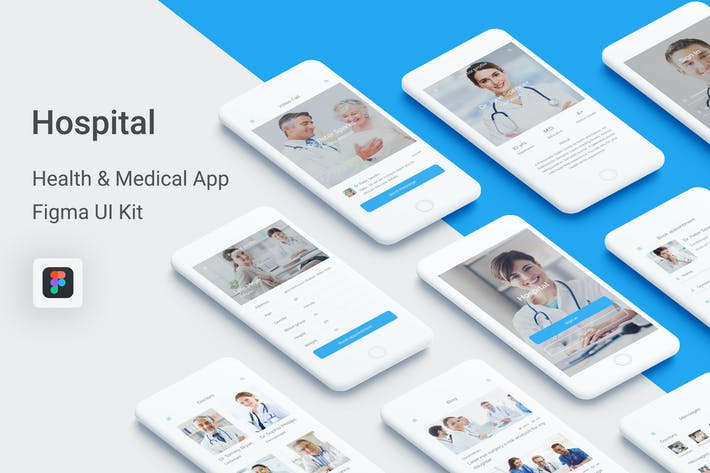 Thumbnail for Hospital - Health & Medical Mobile App for Figma