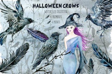 Halloween Krähen und Hexe Aquarell