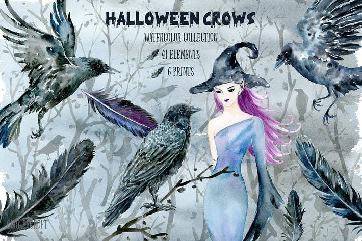 Thumbnail for Halloween Crows and Witch Watercolor