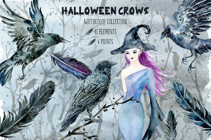 Thumbnail for Halloween Krähen und Hexe Aquarell