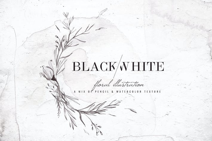 Thumbnail for Black & White Watercolor Floral