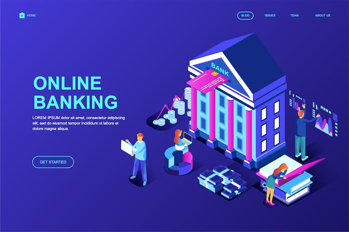 Thumbnail for Online Banking Isometric Landing Page Template