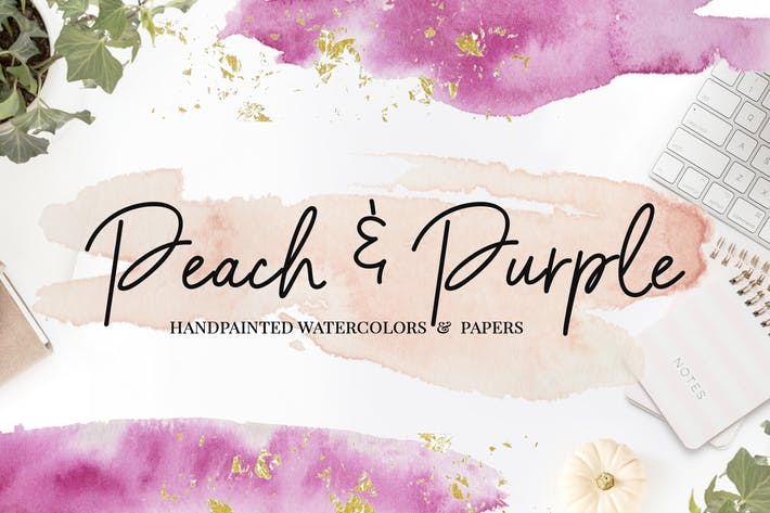 Thumbnail for Peach & Purple Watercolor Textures