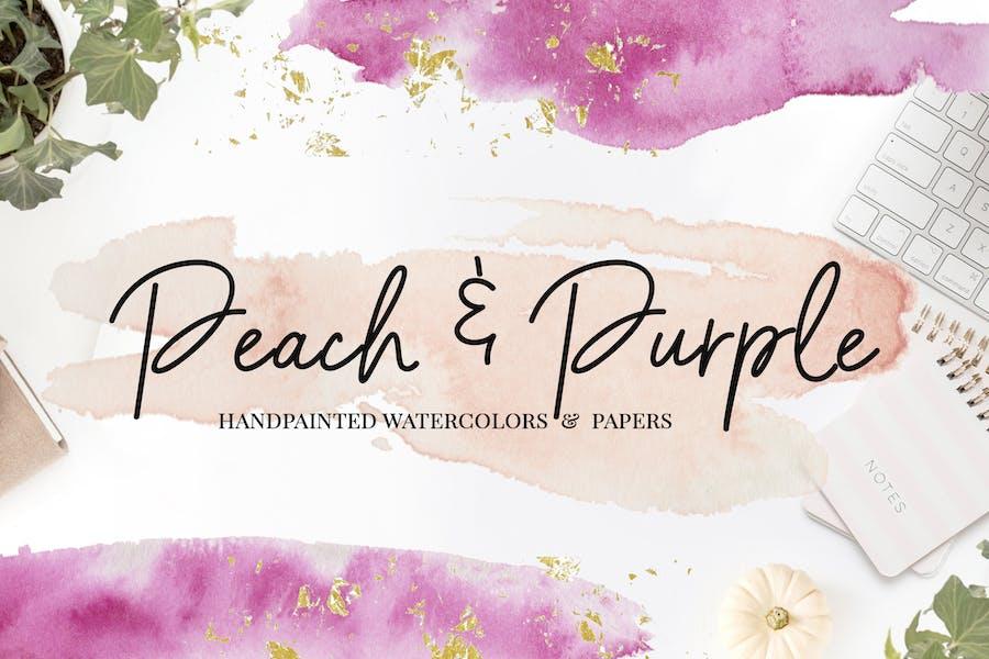 Peach & Purple Watercolor Textures