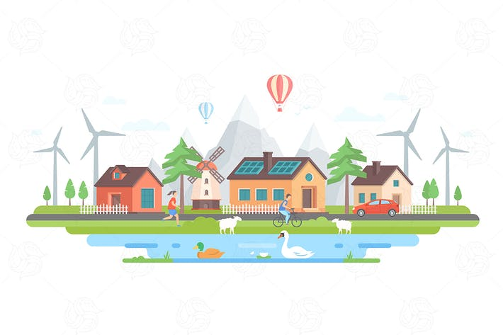 Thumbnail for Eco-friendly village - flat design illustration