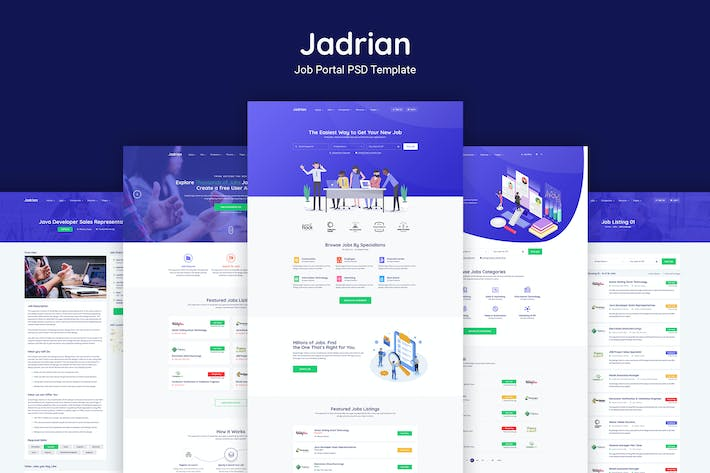 Thumbnail for Jadrian - Job Portal PSD Template