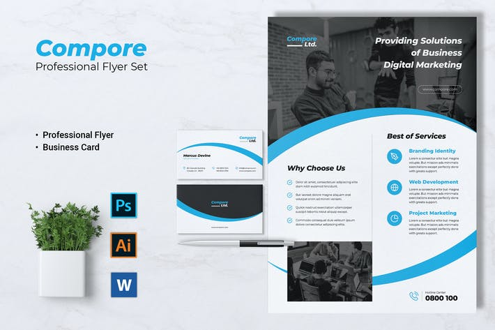 Thumbnail for COMPORE Digital Marketing Flyer & Business Card